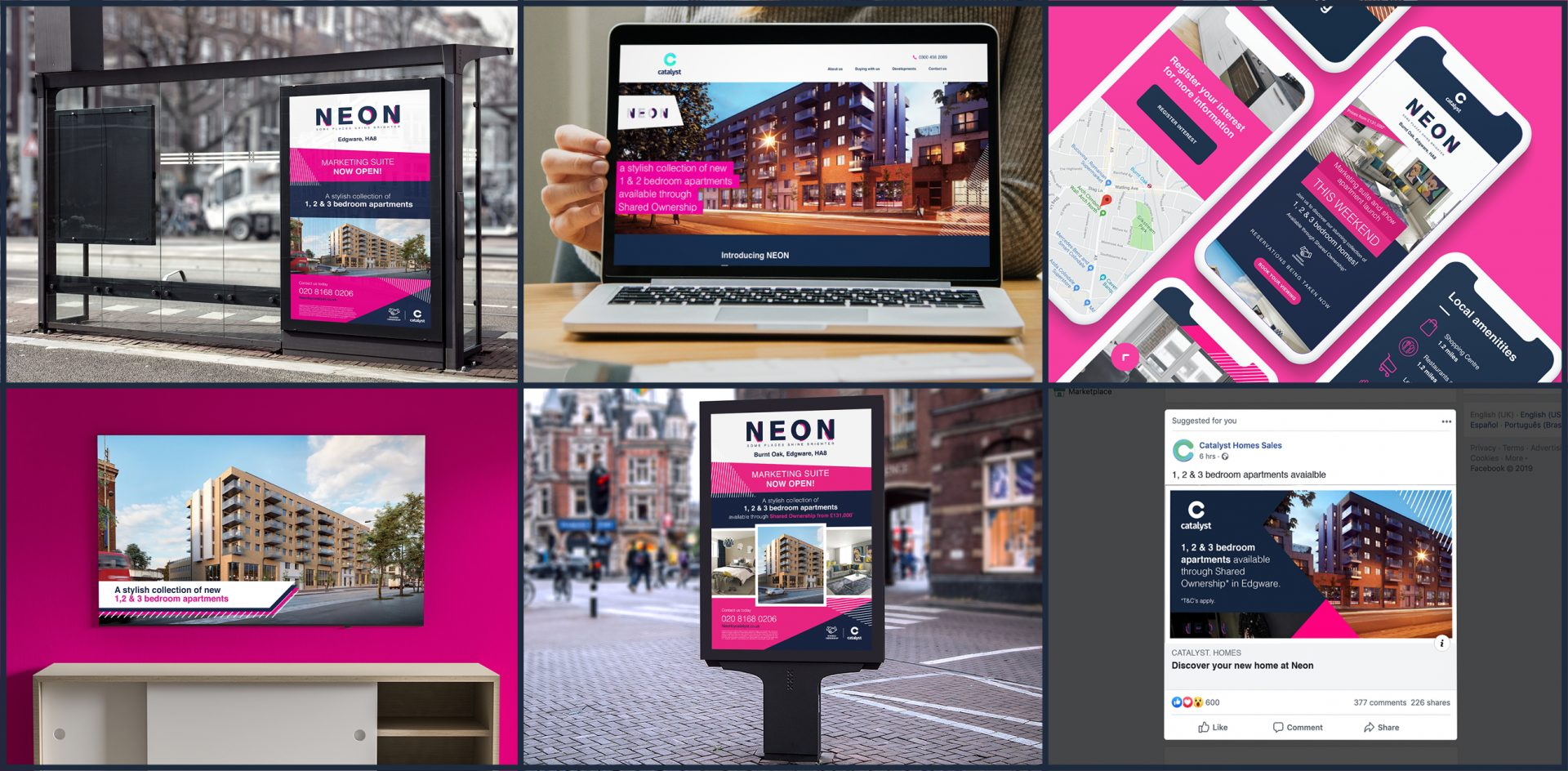 Marketing collateral for Catalyst's NEON development, powered by personas